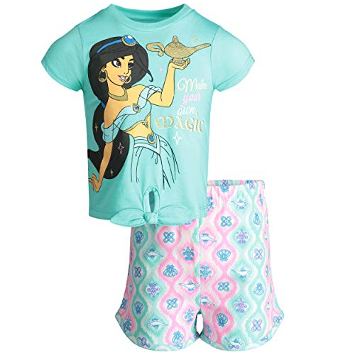 (Disney Aladdin Princess Jasmine Toddler Girls' T-Shirt & Shorts Clothing Set (3T) Blue)