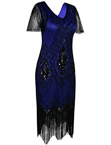 PrettyGuide Dress Flapper Sequin Blue Deco Art Sleeve with 1920s Dress Women's Black qBrgw0qa
