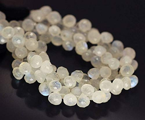 Beads Bazar Natural Beautiful jewellery Blue Rainbow Moonstone Faceted Onion Drop Loose Gemstone Craft Beads Strand 8