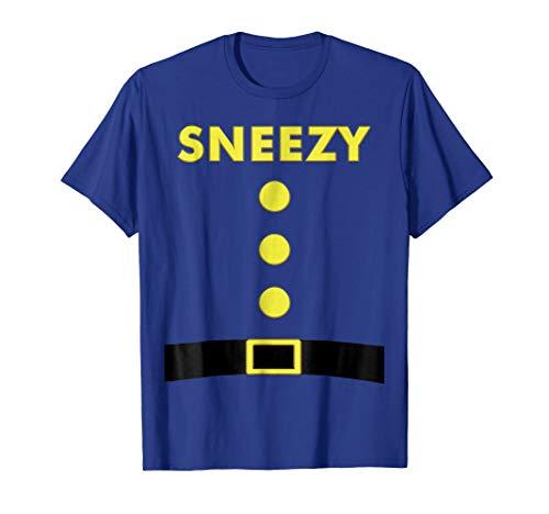 Sneezy Dwarf T-Shirt Halloween Costume Blue Party Shirt