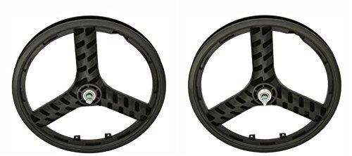 "Black Plastic 20"" 3 Spoke Wheel Set. Front and Rear Free Wheel"