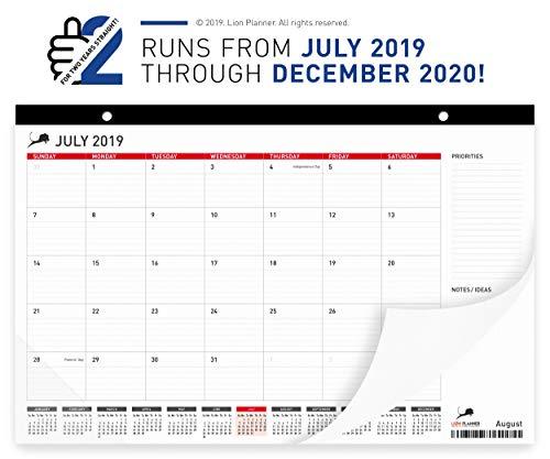 Lion Planner Desk Calendar 2019 - 2020 | Large Monthly Planning Wall & Desk Pad Calendar 17x11