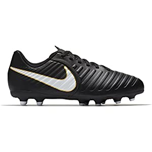 NIKE Kids Jr. Tiempo Rio IV (FG) Firm Ground Soccer Cleat Black/White Size 10 Kids US