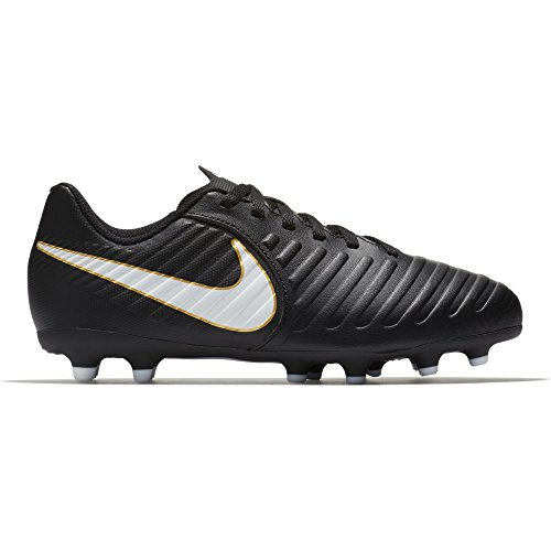 NIKE Kids Jr. Tiempo Rio IV (FG) Firm Ground Soccer Cleat Black/White Size 2.5 M US by NIKE