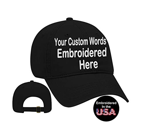 Custom Text Embroidered Dad Hat. Unstructured Adjustable Metal Buckle (Black Dad Hat) ()