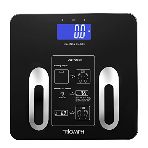 - Triomph Precision Body Fat Scale with Backlit LCD Digital Bathroom Scale For Body Weight, Body Fat,Water,Muscle,BMI,Bone Mass and Calorie,10 User Recognition 400 lbs Capacity,Fat Loss Monitor,Black