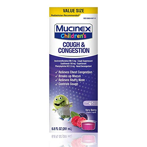 - Mucinex Children's Congestion & Cough Liquid, Very Berry, 6.8oz, Value Size for chest congestion relief, stuffy nose relief, mucus, and cough control