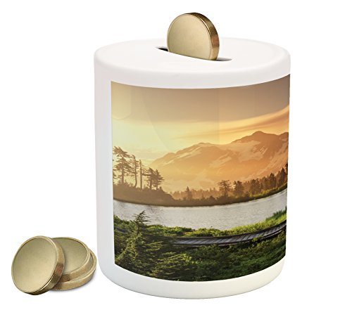 Landscape Piggy Bank By Lunarable  Picturesque Lake And Snow Covered Mountain Peaks Peaceful Side Of Nature Northwest  Printed Ceramic Coin Bank Money Box For Cash Saving  Green
