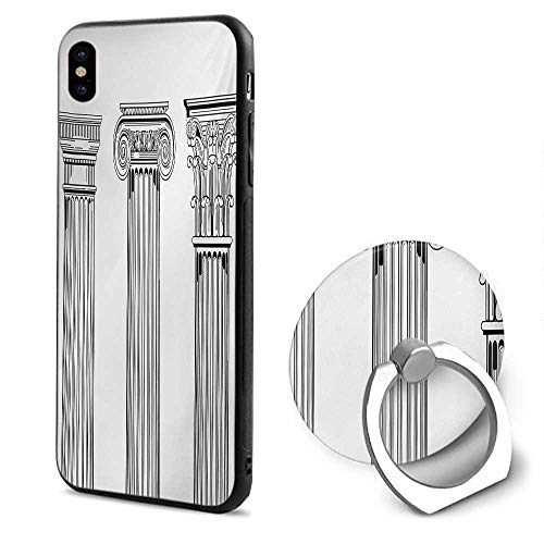 Pillar iPhone x Cases,Antique Theme Column Capitals Illustration Ancient Style Architecture Pattern Black and White,Design Mobile Phone Shell Ring Bracket (Lighthouse Pillar)
