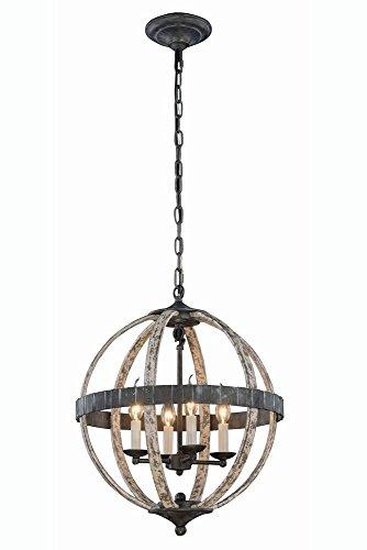 Elegant Lighting 1503D18IW Orbus Collection Pendant Lamp D18' H22' 4-Light, Grey