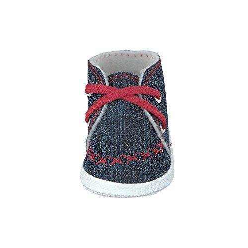 Omnia-Baby Babyschuhe Lauflernschuhe Kinderschuhe Babyschühchen Krabbelschuhe, Jungen Mädchen, aus Jeansstoff, mit Schnürsenkel, Made in Eu - Zapatos primeros pasos para niño azul y rojo