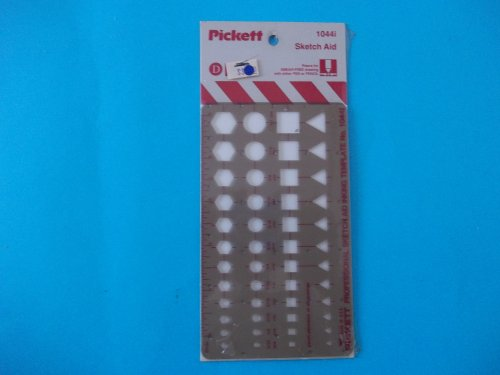 Pickett 1044I Professional Inking Template Built-In Ink Risers Sketch Aid Hexagons Circle Square Triangle by Pickett