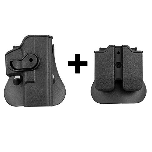 KRYDEX Glock 19 Holster Retention Paddle Holster and Double Magazine Pouch Combo Polymer for Glock 17/19/22/23/25/28/31/32/34 Right Hand (BK)