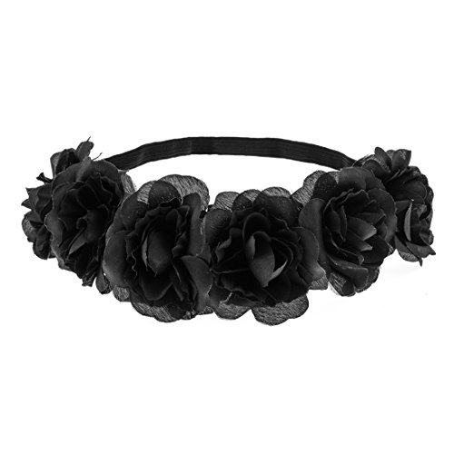 Daisyu Hippie Flower Headpiece Floral Head Wreath Bridal Flower Crown Wedding (Black) (Flower Headpiece Halloween)