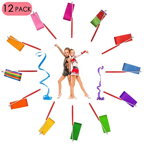 Dance Ribbon Streamer - Rhythmic Gymnastics Ribbon Wands with Rod for Artistic Dancing and Baton Twirling, 12 Pack ()