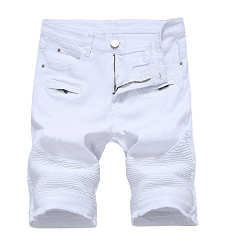 Men's Casual Zipper Biker Jeans Shorts Moto Denim Short Pants, B-white, 34 ()
