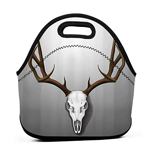 Travel Case Lunchbox with Zip Antler Decor,Realistic with Large Horns Elk Skeleton on Abstract Backdrop,Brown White Grey,bag and lunch bag for girls ()