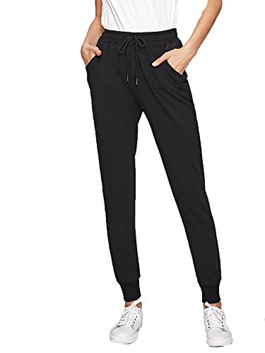 SweatyRocks Women's Casual Solid Sweatpants Yoga Workout Athletic Joggers Pants with Pockets Black XL