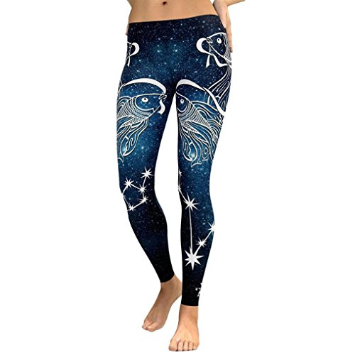 iTLOTL Women Yoga Fitness Leggings Running Gym Stretch Sports High Waist Pants Trousers(L, Blue ) -