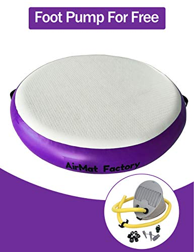 AIRMAT FACTORY Airspot Gymnastics Airtrack – Inflatable Air Track Tumbling Mat with Foot Air Pump for Gym, Home Use, Tumble Track for Training (Mysterious Purple, D=3ft & T=0.7ft(Diameter 1m0.2m))