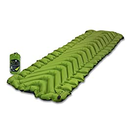 Klymit Static Sleeping Pad 8 NEW AND IMPROVED: The most popular camping pad on Amazon just got 12% lighter and more backpacker friendly; Weighs only 16.33 oz INCREDIBLY LIGHTWEIGHT: New high end lighter fabrics for smaller pack size and weight.Dimensions: Inflated 72 x 23 x 2.5 inches V-CHAMBER DESIGN limits air movement and heat loss; Also provides better support and comfort