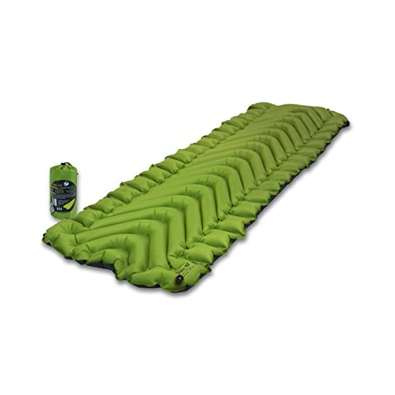 KLYMIT Static V2 Sleeping Pad, Ultralight, (12% Lighter), Great for Camping, Hiking, Travel and Backpacking 1 NEW AND IMPROVED: The most popular camping pad on Amazon just got 12% lighter and more backpacker friendly; Weighs only 16.33 oz INCREDIBLY LIGHTWEIGHT: New high end lighter fabrics for smaller pack size and weight.Dimensions: Inflated 72 x 23 x 2.5 inches V-CHAMBER DESIGN limits air movement and heat loss; Also provides better support and comfort
