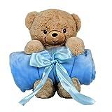 "Blankie's Stuffed Animal Blanket – Super Soft 37"" x 30"" Blue Baby Boy Blanket and Teddy Bear 2-in-1 Combo – Perfect Teddy Bear Blanket Baby Shower Gift for Boys"
