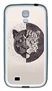 Galaxy S4 Case, Personalized Custom Protective Soft Rubber TPU White Edge Circle Tiger Case Cover for Samsung Galaxy S4 I9500