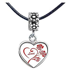 Chicforest Silver Plated Cute Love Rose Photo Flower Head Dangle Heart Charm Beads Fits Pandora Chamilia Biagi Charm Bracelet