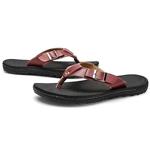 XIAOLIN Zapatillas de verano coreano sandalias y zapatillas de los hombres Zapatillas de exterior deslizamiento marea baja gruesa deslizamiento sandalias zapatillas (tres colores para elegir) (tamaño  02