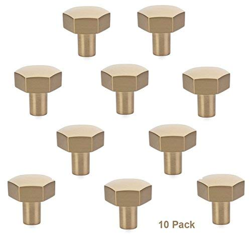 Emtek 86457US4 Urban Modern 1-1/8 Diameter Mod Hex Geometric Knob (10 Pack) - Satin Brass ()