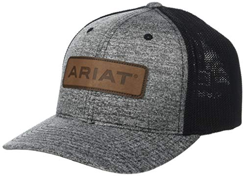ARIAT Men's Leather Logo Patch Flexfit Cap Heather Grey/Black LG/XL (Fitted Hats With Patch)