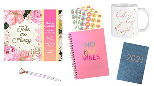 2021 Pocket Calendar, Weekly Planner Organizer, Ceramic Mug, Spiral Hardcover Notebook with Stickers and Custom Ink Pen with Bookmark Bundle (Take Me Away)