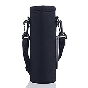 AUPET Water Bottle Carrier,Pure Black 500ML Water Sport Bottle Cover Pouch Insulated Soft Sleeve Holder Case +Shoulder Strap