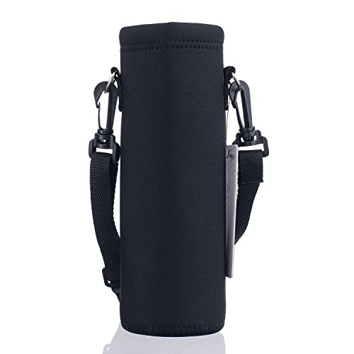 AUPET Water Bottle Carrier,Pure Black 500ML Water Sport Bottle Cover Pouch Insulated Soft Sleeve Holder Case +Shoulder Strap (Bottle Water Carrier Plastic)
