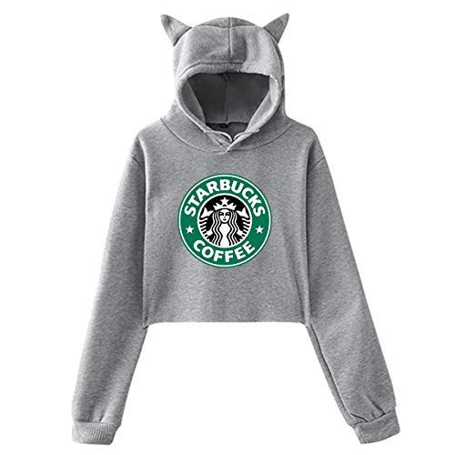 Womens Casual Cool Classic Logo Cat Ear Sweater for Girls Fashion Long Sleeve Cotton Hoodies for Teens Crop Top Hoodie