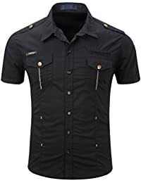 "<span class=""a-offscreen"">[Sponsored]</span>Men's Military Stylish Button Front Slim Fit Short Sleeve Cotton Shirts"