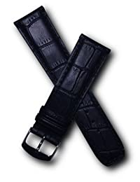 22mm Black Alligator-style Genuine Leather Watchband with Black Stitching to fit Baume & Mercier Classima