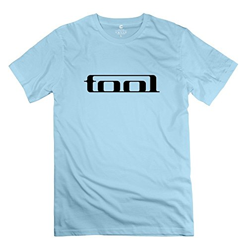 Hoxsin Men's Tool Band Logo Hot Topic 100% Cotton T Shirt SkyBlue US Size M