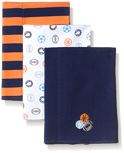 Gerber Baby Boys' 3 Pack Interlock Burp Cloth, Sports, One Size