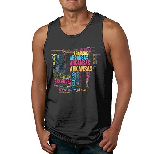Xinjinhon Men's State Map Arkansas AR Word Cloud Cotton Casual Tank Tops Graphics T-Shirts Tee Black