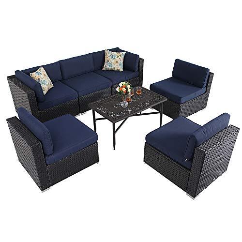 PHI VILLA 7 Piece Outdoor Furniture Patio Sectional Sofa Conversation Set with Rattan Wicker Cast Aluminum Table, Navy-Blue
