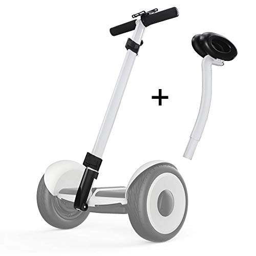 Dual Purpose Segway Handlebar for Minilite Scooter with Kickstand and Phone Mount, Handle Bracket with Knee Control, Self Balance Hoverboard Handle Bar Handle Bracket (White (Hand+Knee - Telephone Control