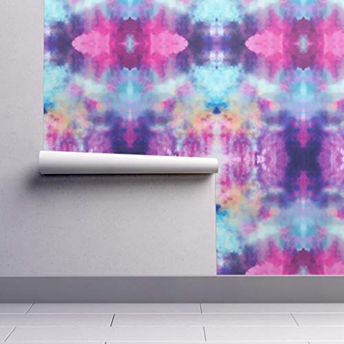 - Peel-and-Stick Removable Wallpaper - Purple Blue Watercolor Dye Purple Aqua Orange Magenta Tie Dye Colorful by Beththompsonart - 24in x 108in Woven Textured Peel-and-Stick Removable Wallpaper Roll