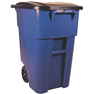 Rubbermaid Commercial BRUTE Roll-Out Recycle Bin with Lid, 50 Gallon, Blue, FG9W2700BLUE)