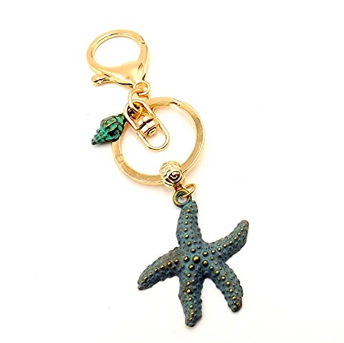 Chain Collection Starfish Key - Nautical Starfish Green Patina Golden Keychain Car Fob Pocketbook Purse Accessory Ocean Lovers Collection