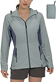 Mapamyumco Women's Sun Protection Lightweight Jacket for Golf Running Cycling,Breathable Hooded Hiking Clo