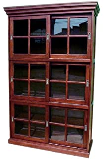 D ART COLLECTION Mahogany 3 Section Sliding Door Bookcase