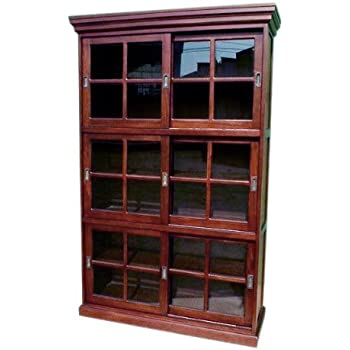 D-ART COLLECTION Mahogany 3-Section Sliding Door Bookcase