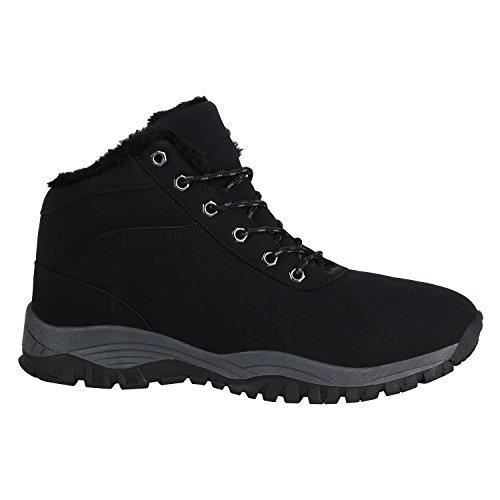Stiefelparadies Herren Outdoor Boots Gefütterte Winter Schuhe Bequem Profil Sohle Flandell Schwarz Bexhill